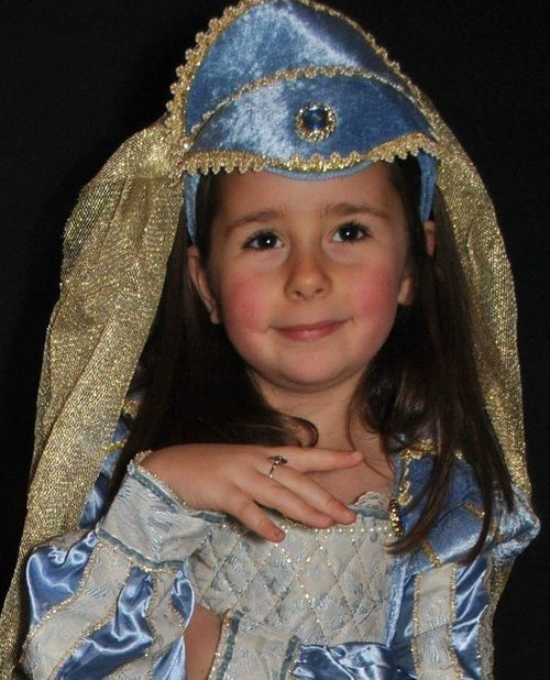 My beautiful daughter Portrait Looking At Camera Child Black Background Children Only One Person Childhood Waist Up Girls One Girl Only Smiling Crown Period Costume Close-up Indoors