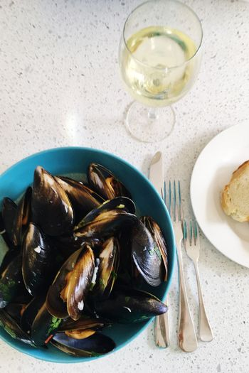 Food And Drink Freshness Food Indoors  Healthy Eating Bowl Mussel Ready-to-eat No People Close-up Mussels Meal White Wine Seafood Moules Moules Marinières