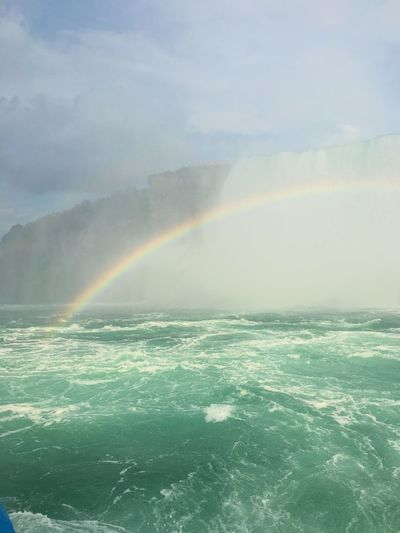 Somewhere over the rainbow Waterfalls Rainbow Beauty In Nature Scenics Nature Outdoors Water