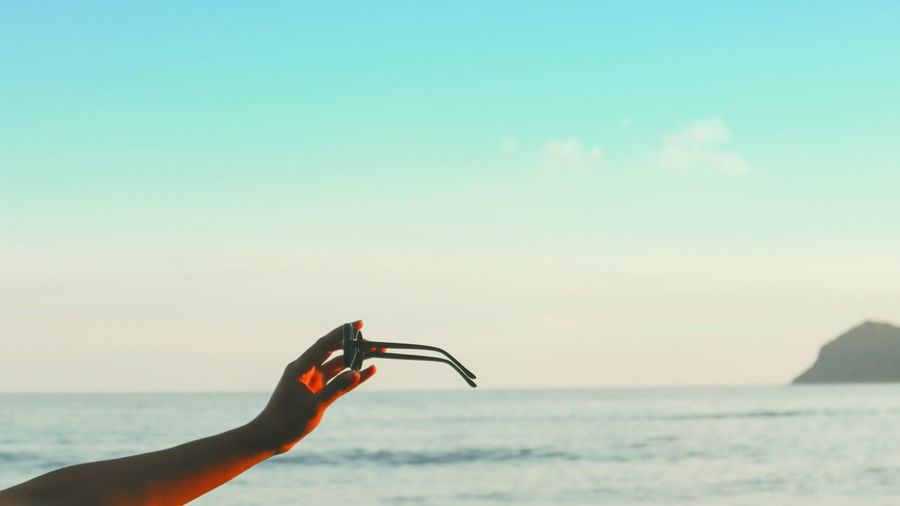 hands up Hand Sunglasses Aesthetics Beauty In Nature Landscape Urbanphotography Indonesia Scenery Sea Ocean View Beach Beach Life Human Hand Water Sea Beach Sky Horizon Over Water Close-up The Art Of Street Photography My Best Photo
