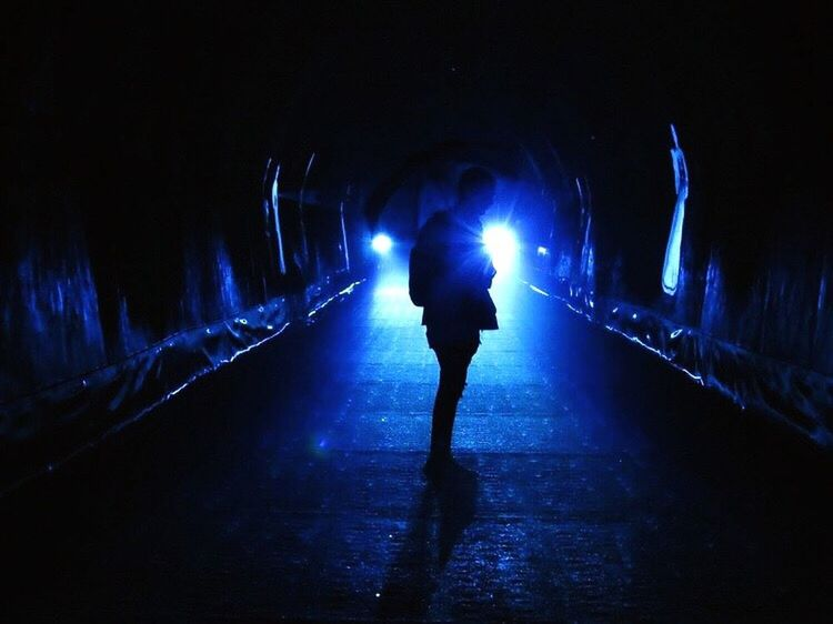 Tunel Gallery Grič Tunnel Light And Shadow Man Unbrella Real People Silhouette One Person Outdoors Water Rain Light In The Darkness Blue