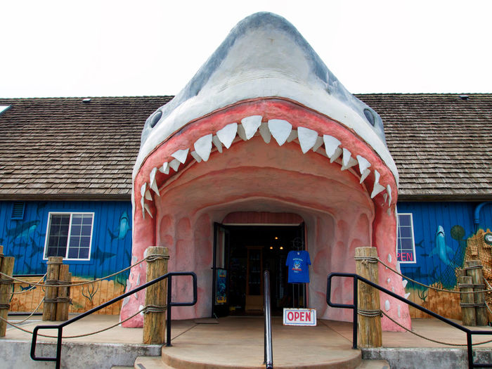 A roadside attraction near Ocean Shores, Washington. Blue Building Building Built Structure Kitsch Mouth No People Open Sign Overcast Skies Roadside America Roadside Attractions Shark Shark Teeth Tourism Tourist Trap Travel Travel Photography Washington State