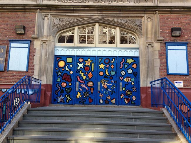 NYC New York New York City School School Building Built Structure Building Exterior Buildingart Building Art ArtWork Architecture Multi Colored Window Railing No People Day Low Angle View Outdoors Steps Staircase