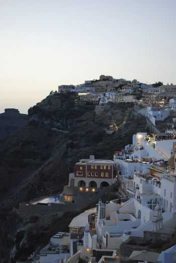 Dusk in Fira | Santorini Architecture Building Exterior Built Structure City Cityscape Cliff Day Dusk Fira Fira Santorini Greece High Angle View History Lights No People Outdoors Santorini Santorini Island Santorini, Greece Sky Tourism Travel Travel Destinations