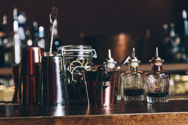 Close-up of drink on bar counter