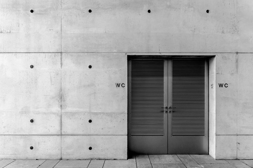 Architecture Berlin Photography Black & White Black And White Building Exterior Built Structure Day Door EyeEm Gallery EyeEmBestPics Metal Minimalism Minimalistic No People Outdoors Toilet Toilette Tür Urban Exploration Wc Minimalist Architecture