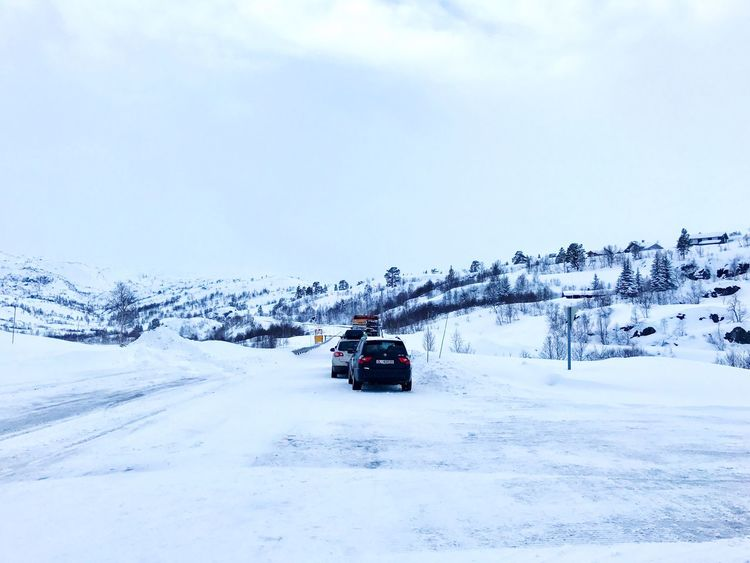 Snow storm and Convoy drive over the norwegian mountain Haukelifjell Snow Winter Cold Temperature Transportation Weather Mode Of Transport Land Vehicle Nature Sky Outdoors Beauty In Nature Scenics Day No People (null)Frozen Norway Haukelifjell Convoy