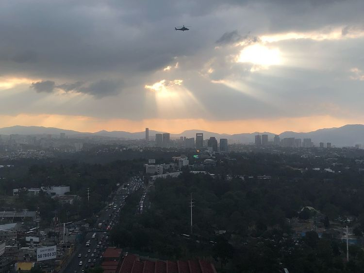 Open Your Eyes Mexico Kain Reporter Helicopter 🚁 Mexico City Architecture Building Exterior Sky Sunset Mountain Day Skyscraper Nature No People