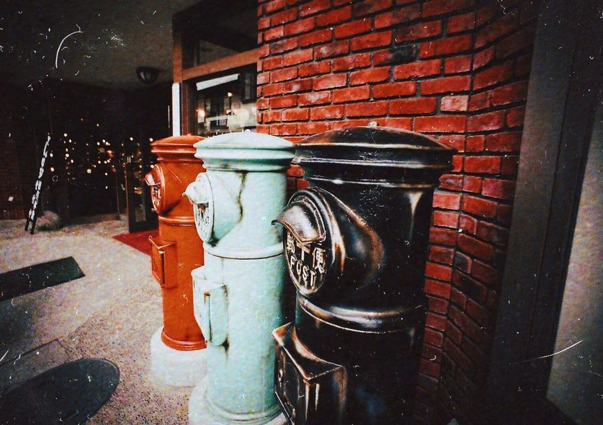 Neon Life Architecture Built Structure No People Building Exterior Outdoors Day Post Red Black Brick Wall Colorful Postcard Letter Gift Delivery Postman Which One? Japan Photography Japan