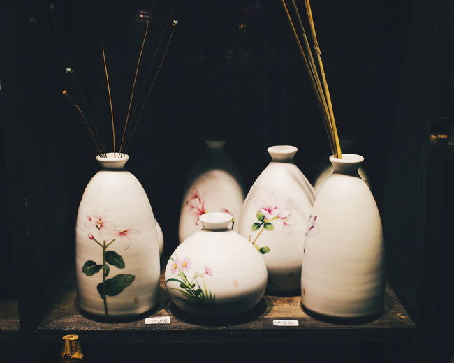 Art And Craft Black Background Ceramics Close-up Craft Creativity Decoration Focus On Foreground Group Of Objects Illuminated Indoors  Still Life Vase White Color