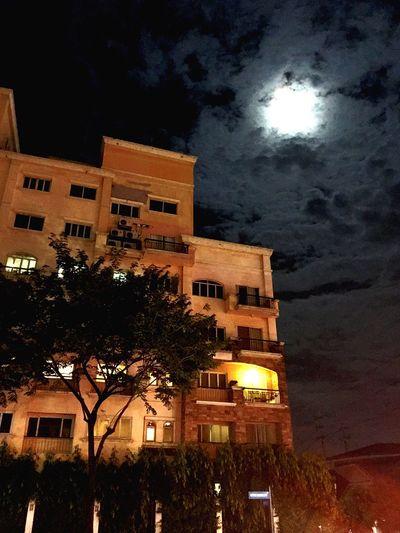La Luna Cloud - Sky Night Architecture Building Exterior Built Structure Illuminated Tree Moon Sky No People Moonlight Astronomy Low Angle View Outdoors La Luna
