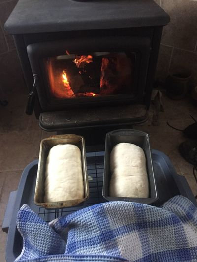 Fresh Bread Rising Woodstove Indoors  Burning Heat - Temperature Flame No People Home Interior High Angle View Close-up Food Day EyeEmNewHere