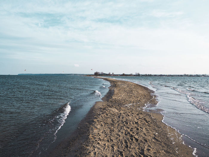 Scenic view of sandbank against sky