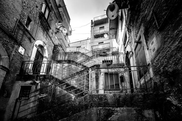 Architecture Authentic Moments Black And White Building Building Exterior Built Structure City City Life Day Italy Low Angle View No People Outdoors Residential Building Residential Structure Sicily Sky