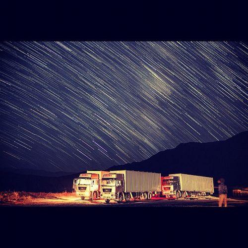 Spending the night in a Tajik truck near the Kyrgyz border Startrail  Longexposure Kyrgyzstan 5dmk2