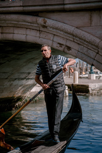 Gondolier Venice Venice, Italy Veneto City Canal Canals And Waterways Water Nautical Vessel Men Gondola - Traditional Boat Portrait Full Length River Mature Men Rowboat Paddling Oar Gondola