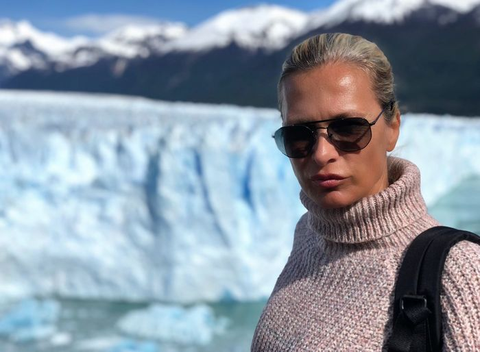 Patagonia Women Glacier Perito Moreno. Patagonia. Argentina. Adventure Ice Real People Portrait One Person Water Sunglasses Lifestyles Leisure Activity Glasses Focus On Foreground Headshot Winter Looking At Camera