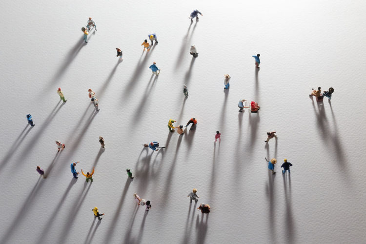 High angle view of figurines on table