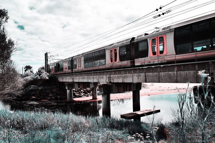 Choo choo! Clouds Outdoors Train Picoftheday EyeEm Gallery Photography EyeEm Selects Built Structure Architecture Sky Building Exterior Water Nature Cloud - Sky Day Reflection Transportation Bridge Connection Waterfront No People Bridge - Man Made Structure Building Outdoors Plant Tree Canal