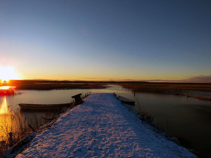 Evening Lake View Midwinter Sunset