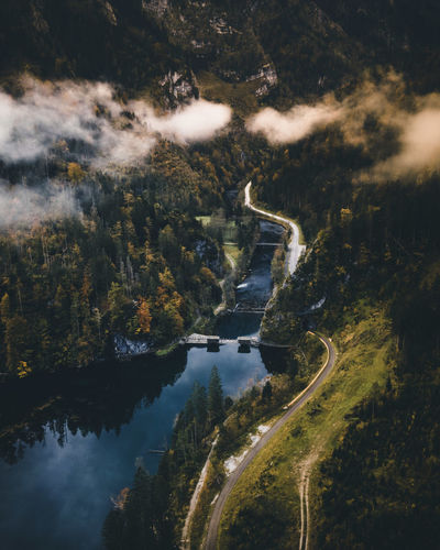 Aerial view of river amidst trees against sky