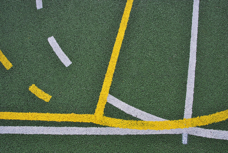 Court Lines Basket Basketball - Sport Competition Competitive Sport Day Dividing Line Grass Green Color Lines And Shapes Multipurpose No People Outdoors Playing Field Single Line Soccer Sport Team Sport Turf White White Color Yard Line - Sport Yellow