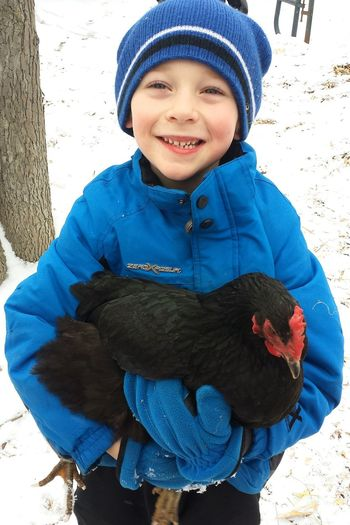 Bold Colors Black And Blue Boy Happy Kid Chicken Hen Farm Boy Farm Life