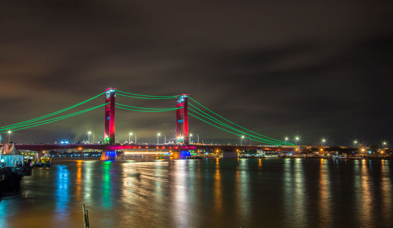 Ampera Bridge palembang Indonesia Ampera Bride, Palembang, Indonesia Night Lights Nightphotography Palembang-Indonesia Ampera Ampera Bridge Architecture Bridge - Man Made Structure Building Exterior Built Structure City Connection Illuminated Long Exposure Night No People Outdoors Reflection Sky Suspension Bridge Transportation Travel Travel Destinations Water Waterfront
