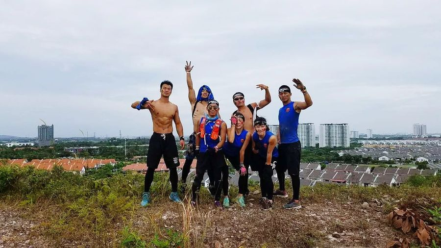 Here we are Spatan Race Togetherness Sport Sky Motivation Cloud - Sky Young Men Full Length Standing Teamwork Sports Clothing Medium Group Of People Friendship Sportsman