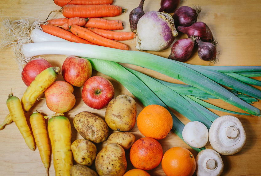 Apples Carrots Day Food Food And Drink Freshness Fruit Fruits Healthy Eating Indoors  Leek Mushrooms No People Organic Potatoes Produce Red Onions Vegetables