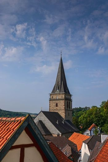 Altstadtdächer Architecture Belief Building Building Exterior Built Structure Cloud - Sky Day Kirchturm Low Angle View Nature No People Outdoors Place Of Worship Religion Roof Roof Tile Sky Spire  Spirituality Tower Warburg Altstadt