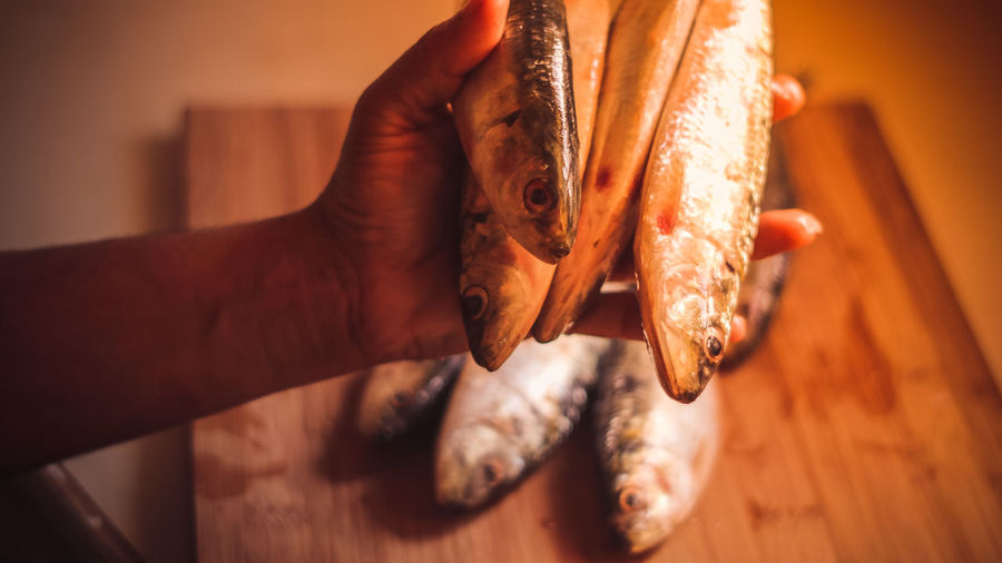 Close-up Day Eating Fish Food Food And Drink Freshness Healthy Eating Holding Human Body Part Human Hand Indoors  Lifestyles Meat Men One Person People Real People Seafood