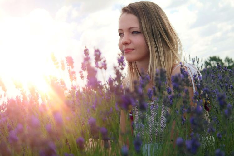 Lavender NX300 Lavender Field Smile LoveNature Hungary Grass Green Tired Myhobby Colourful Hobbyphotography Relax Happiness Girl Kindness Fresh Smiling Landscape Love Happy Flower Young Women Beauty Rural Scene Sunset Summer Field Purple Blond Hair