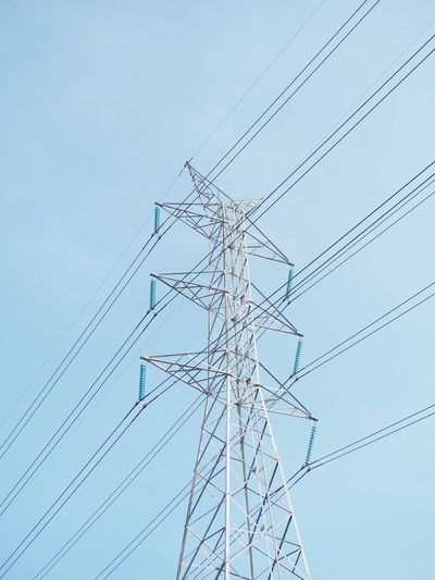 Sky Low Angle View No People Blue Nature Clear Sky Day Power Supply Power Line  Cable
