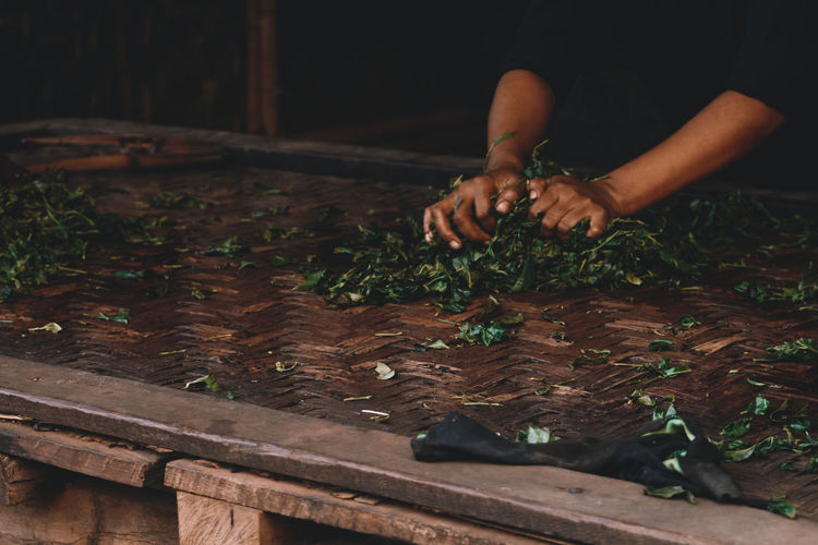 Tea leaves being processed in Myanmar. - IG @LostBoyMemoirs (Photos taken on Canon 650D Rebel T4i, edited in Lightroom.) People People Watching People Photography Streetwise Photography Street Photography ASIA Myanmar Burma Myanmar Culture Myanmarphotos Adventure Backpacking Culture And Tradition Cultures Exploration Travel Destinations Agriculture Farming Real Life One Person Real People Human Hand Hand Wood - Material Leaf Plant Part Food And Drink Indoors  Human Body Part Food Preparation  Working Nature Table Freshness Holding Lifestyles Men Finger The Art Of Street Photography