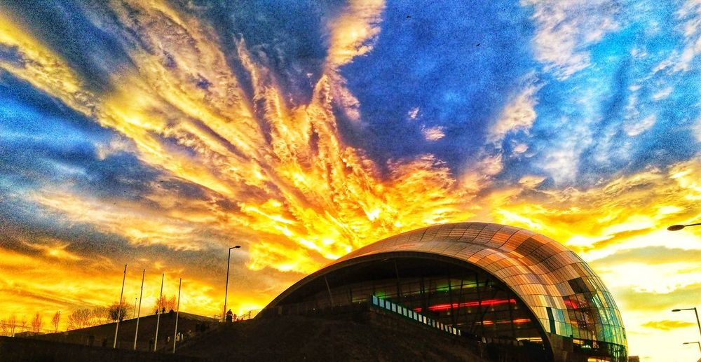 Fresh Morning Walk Sage Gateshead Evening Sky Evening Sun Building Exterior Newcastle Upon Tyne Newcastle Gateshead Gateshead Millenium Bridge Illuminated Sunset Multi Colored Arts Culture And Entertainment Amusement Park Ride Amusement Park Sky Architecture Built Structure Cloud - Sky Dramatic Sky