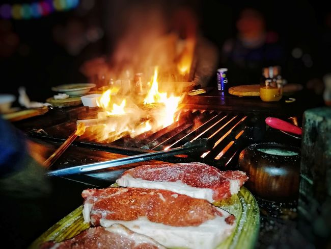 Meat lovers Tomahawk Steak New York Steak Food Food And Drink Flame Close-up Night