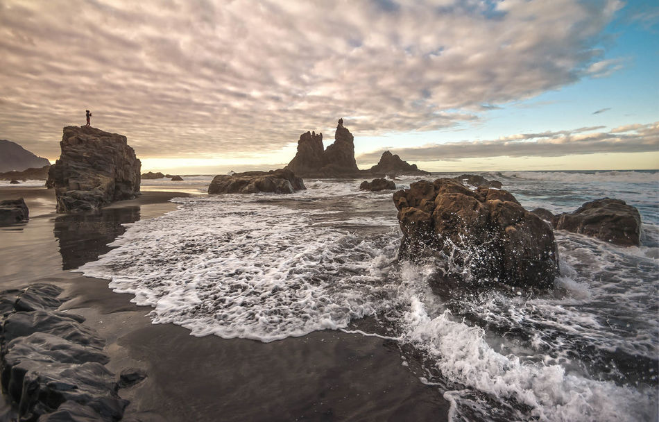 Benijo Taganana Tenerife Adventure Waves Sea Water Sky Rock Motion Rock - Object Solid Scenics - Nature Beach Beauty In Nature Wave Rock Formation Land Horizon Over Water Cloud - Sky Nature Horizon Sunset Aquatic Sport No People Outdoors Breaking Power In Nature Flowing Water Stack Rock