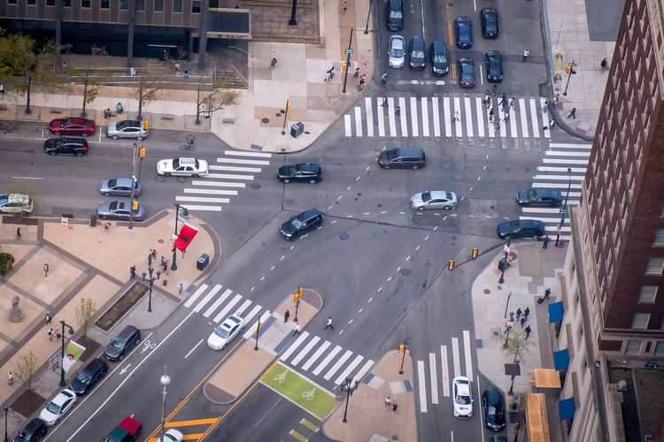 Architecture Car City City Street Crossing Crosswalk Day Dividing Line High Angle View Land Vehicle Marking Mode Of Transportation Motor Vehicle Road Road Marking Sign Street Symbol Traffic Transportation Zebra Crossing The Street Photographer - 2018 EyeEm Awards The Architect - 2018 EyeEm Awards