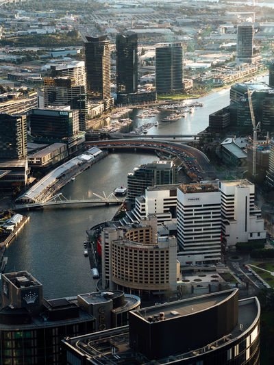 Melbourne in the evening Australia City Riverside Skyline Architecture Building Exterior City Sunset Cityscape Golden Hour High Angle View Light And Shadow Melbourne River Skyscraper Sunset Travel Destinations Urban Skyline Yarra River