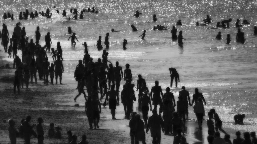 The Beach on a Busy day, Last day of August... Many People Beach Life Beach Photography Black & White Black And White Crowded Eyeem Black And White Eyeemphoto Fresh On Eyeem  Large Group Of People Person Vacations Walking Water Week On Eyeem Blurry On Purpose Blurred Photos. People On Beach Black And White Photography Summer2016 Summers Day Leisure Activity People On The Beach Crowd