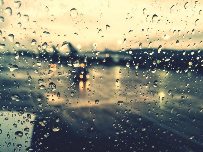 Rain Taoyuan International Airport Through The Window Waiting To Depart Rainy Days