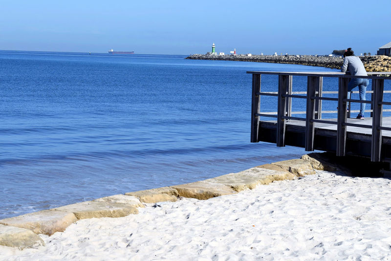 Place to ponder Water Sea Blue Scenics Tranquility Shore Sky Built Structure Taking Photos Enjoying Life Relaxing