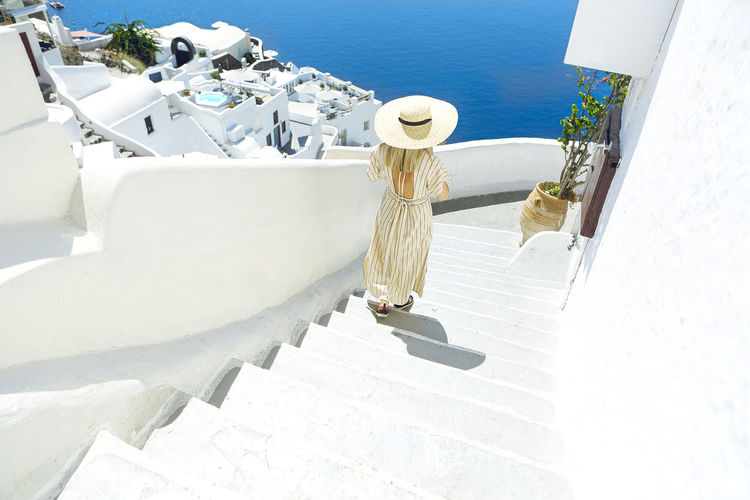 High angle view of woman by sea