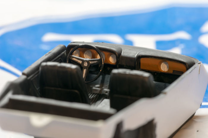 Car Close-up Day Mustang Interior No People Plastic Model Steering Wheel Table