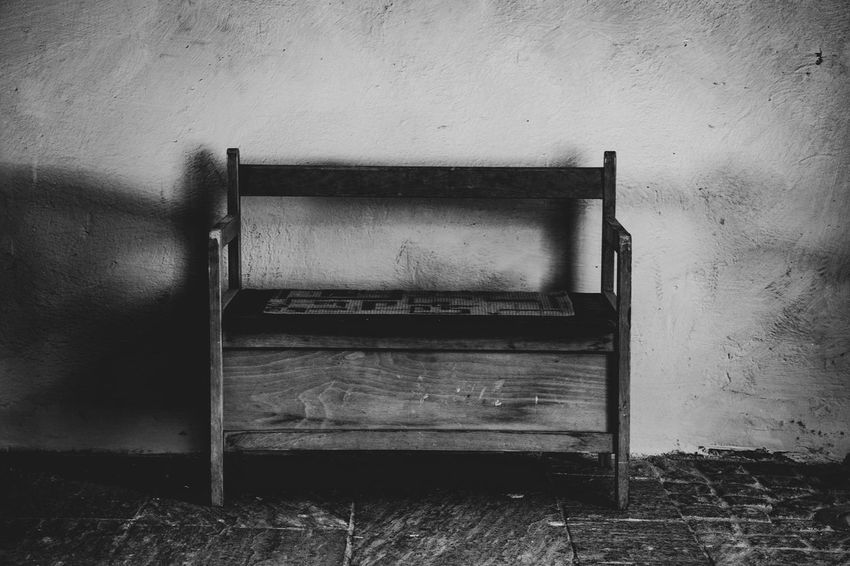 Old No People Wall - Building Feature Wood - Material Architecture Seat Indoors  Day Abandoned Weathered Built Structure Empty Obsolete Chair Furniture Wall Absence Run-down Building The Week on EyeEm Eye4photography  Eye4black&white  EyeEm Selects Black & White Bw_collection