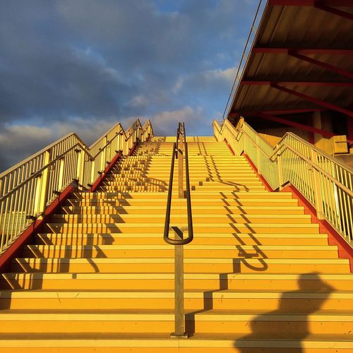 Architecture Building Building Exterior Built Structure Cloud - Sky Day In A Row Low Angle View Nature No People Outdoors Queen Elizabeth Olympic Park Railing Security Shadow Sky Staircase Steps And Staircases Sunlight The Way Forward Yellow