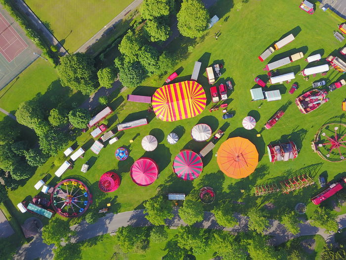 Funfair Park Drone  Aerial View Multi Colored Full Frame Close-up