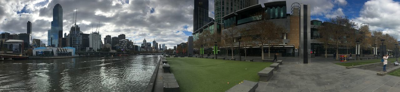 Panorama of Southbank Australia Melbourne Melbourne City Yarra River Cloud - Sky Building Exterior Architecture City Sky Built Structure Water Panoramic Nature Street Building Transportation Reflection Road Day Outdoors Office Building Exterior