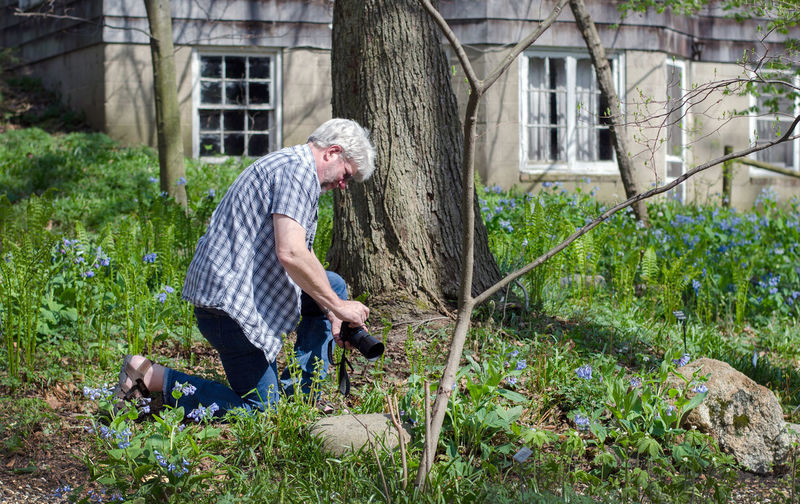 Side view of man photographing while kneeling by plants in yard